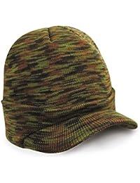 WA-UR-5x Strickmütze mit Schirm - Wollmütze für Damen und Herren schwarz navy camouflage khaki (beige) hellgrau dunkelgrau braun oliv hellblau