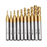 ChaRLes 10 Stücke Titan Beschichtung 1,5-6,0Mm Hss 4 Flöte Schaftfräser 6Mm Schaft Cnc Bohrer
