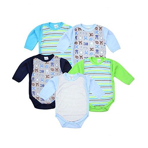 TupTam Baby Unisex Langarm Wickelbody im 5er Set, Farbe: Junge, Größe: 74