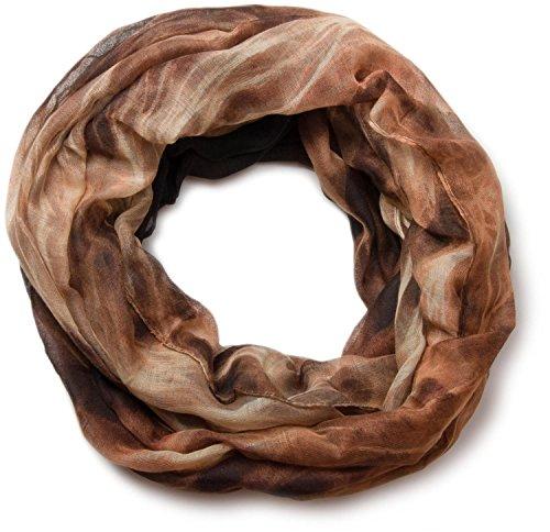 styleBREAKER Flammen Muster Batik Style Loop Schlauchschal 01018041 (86x94 cm, Braun-Beige) -