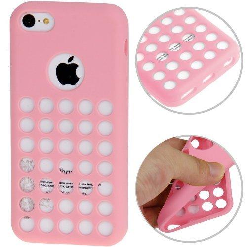 Custodia cover case Hollow Dot Pois ROSA protezione morbida per Apple iPhone 5C + Pellicola Clear Omaggio Colore Rosa EASYPLACE®