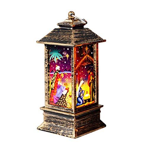 Luz de Noche LED, Adornos de Navidad Mood Light Lanterns Lámpara de Mesa Accesorios Vintage de Decoración para Fiestas en el Hogar Decorativo Iluminación de Navidad de interior (A, 5.5x5.5x13cm)
