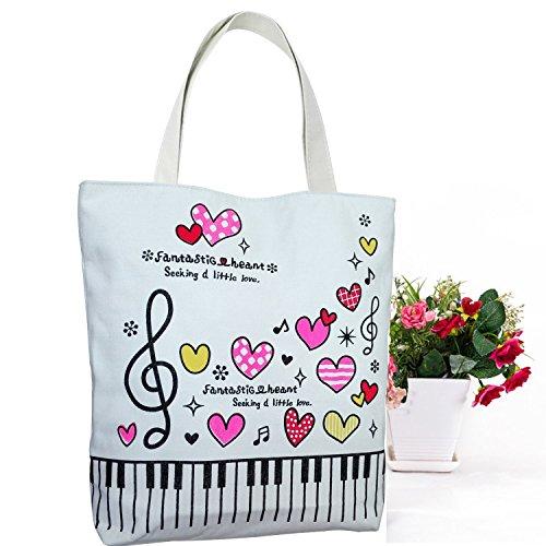 Action Cloud Klaviertasten Musik Handtasche Tote Einkaufstasche, Musik Buch Tasche und Geschenk der Musikliebhaber MG-340 Red Love (Hobo-geschenk)