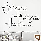 DESIGNSCAPE® Wandtattoo Das Gestern ist Geschichte... | Wandtattoo Lebensweisheit Spruch 60 x 40 cm (Breite x Höhe) lehmbraun DW801629-S-F88