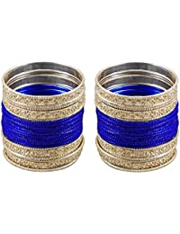 DollsofIndia 2 Sets Of Blue Metal Bangles - Size - 2-6 - Dia - 2.4 Inches (RE93) - Blue