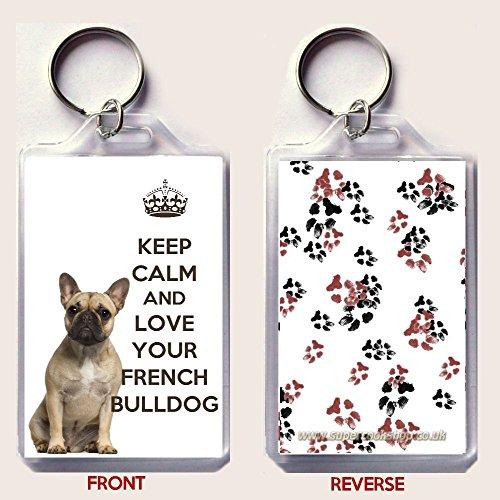 Yummy Grandmummy Keep Calm and Carry et d'amour Votre Porte-clés Bouledogue français. Un Cadeau Unique pour Un Amateur de Bouledogue français.
