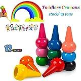 Reastar Kleinkinder Wachsmalstifte Handflächengriff Wachsmalstifte, 12 Farben Zeichenstift Wachsmalstifte Stapelbares Spielzeug für Kinder, Sicher und nicht toxisch