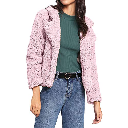 Kurzjacket Strickmantel Kunst Revers Sweater Coat Fleecejacken Einfarbig Damen,OSYARD Frauen Umlegekragen Plüsch Warme Jacken Outwear...