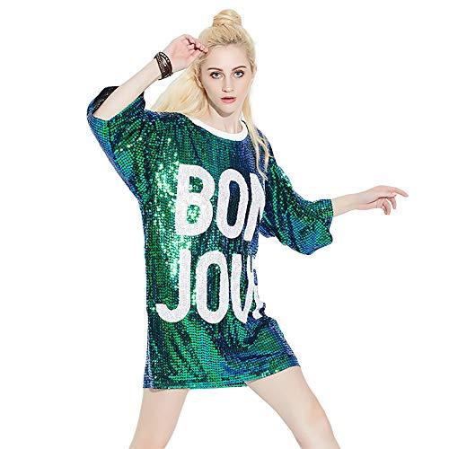 Bmeigo Damen Paillette T-Shirt 3/4 Ärmeloberteile Minikleid Lose Gedruckt Briefe Hiphop Tanzen Performance Kostüm