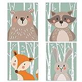 Sentaoa 4er Set Cartoon Tiere Leinwanddruck Kunstdrucke auf Leinwand Wanddeko Für Babyzimmer Mädchen Junge Deko Dekoration Kinderzimmer (Stil#1, 4PCS)