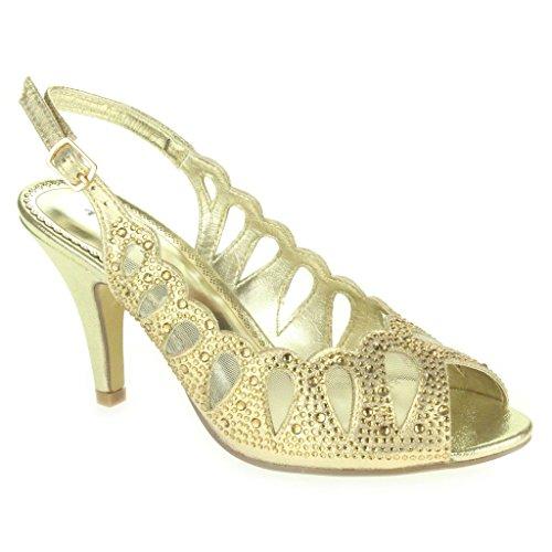 Donne Le Signore Taglio laser Diamante Peep Toe Mid Heel Sera Nozze Partito Ballo di fine anno Sandali Scarpe Taglie Oro
