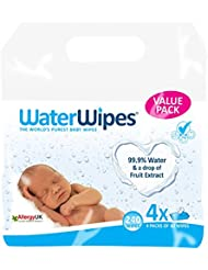 WaterWipes Baby Wipes Sensitive Skin, 4 packs x 60 wipes (240 wipes)