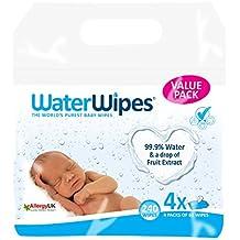 WaterWipes Toallitas para Pieles Sensible de Bebé, 4 paquetes x 60 toallitas (240 toallitas