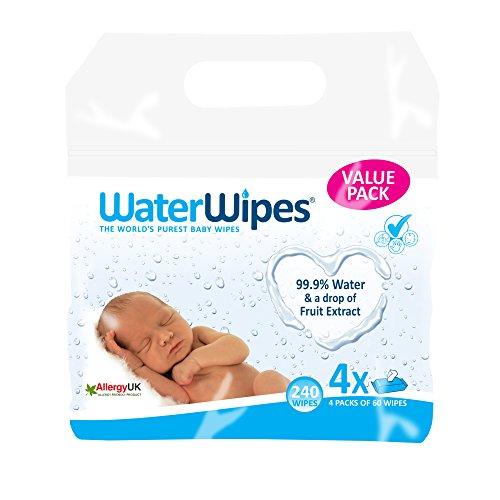 WaterWipes Toallitas para Pieles Sensible de Bebé, 4 paquetes x 60 toallitas (240 toallitas)