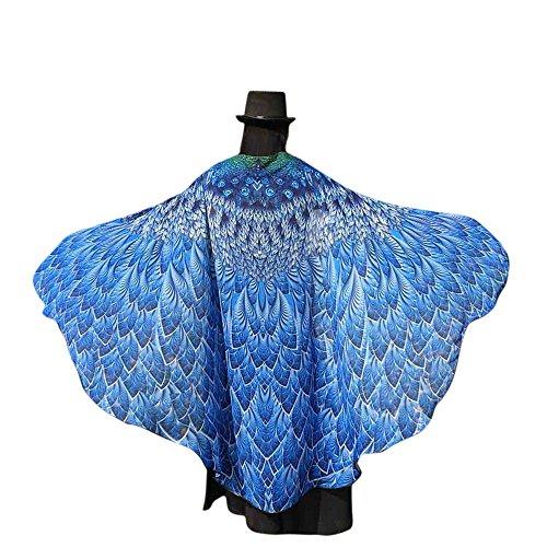 hör Weiche Stoff Pfau Flügel Schal Fee Damen Nymphe Pixie(M,Blau) ()