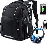 Netchian Sac à Dos pour Ordinateur Portable 17 Pouce, Poids léger RFID Sac à Dos d'affaires pour Hommes Anti-vol Occasionnel Daypack avec Port de Charge USB Étanche Sacs d'école pour Les Filles