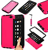 Magic Global Gadgets - delantero y trasero Protector de carcasa rígida híbrido Carcasa a prueba de golpes para ********* Con Protector de pantalla - doble capa alrededor de protección completo cubierta + lápiz, plástico, rosa, Amazon Fire Phone GSM