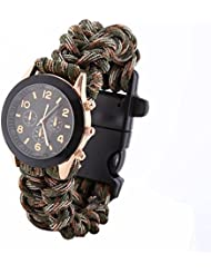 nusey (TM) Hot Cool portátil supervivencia pulsera con reloj brújula Flint Fire Starter rasqueta silbato Gear, Army Green Camouflag