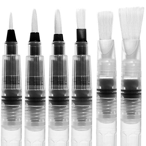Markat International Aquarell Pinsel Pen 6 Stück Set Von 3 Runde Und 3 Flache Bürsten Kommt Komplett Mit Bonus Paint Palette Tray Für Aquarell -