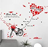 QTXINGMU Fahrrad Wall Sticker Rot Liebe College Speicher Für Wohnzimmer Angebote Aufkleber Abnehmbare Wandbild Aufkleber Wall Art