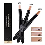 Gesicht Augen Concealer Coverstick Abdeckstift Natural Full Cover Long Lasting Highlight Contour Concealer Pen Stick mit Schwamm Pinsel Kopf Molie