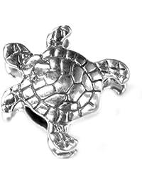 Abalorio en plata de ley, diseño de tortuga marina, para pulseras de estilo europeo