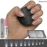 50Stück klar Oval Nägel 10Größen–kurz/mittel, geeignet für Salon & DIY Nail Art–♥ inklusive Kleber ♥ & ♥ klein Prep Datei ♥