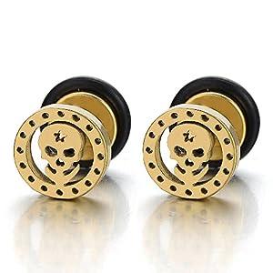 8MM Gold Kreis Schädel Ohrstecker Herren Jungen Ohrringe Fakeplugs Ohr-Plug Tunnel Gauges Ohr-Piercing, 1 Paar