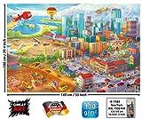 GREAT ART XXL Poster Kinderzimmer - Großstadt Comic Style - Wandbild Dekoration Wimmelbild Großstadt Baustelle Hubschrauber Flugzeug Bagger Flughafen Wandposter Wanddeko Wandgestaltung (140 x 100 cm)