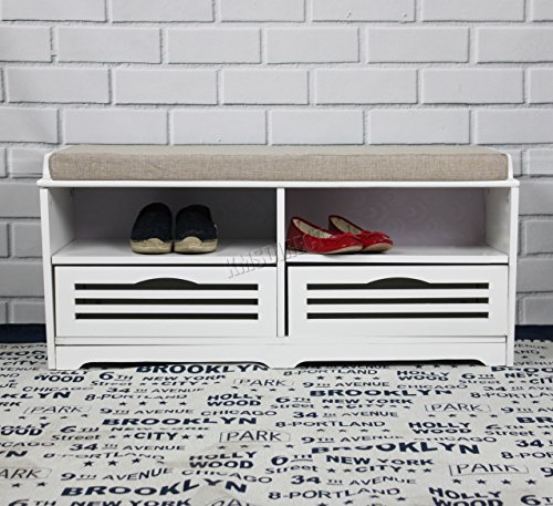 FoxHunter Shoe Storage Bench With 2 Drawers Compartments Padded Seat Stool Ottoman Unit Hallway Hall Entryway Cabinet Organiser Home Furniture MDF SB06 White