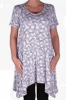 EyeCatch - Faith Womens Long Uneven Hem White Print Ladies Short Sleeve Top Plus Sizes 14 - 28