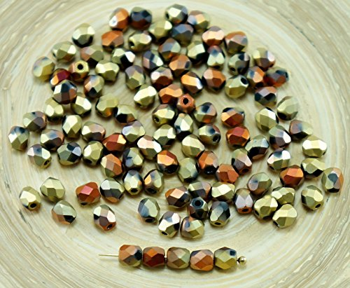 80St Matt California Gold Rush Tschechische Glas Runde Facettierte, Feuer-Polierte Perlen 4mm - 4mm Tschechische Glasperlen Polnischen Feuer