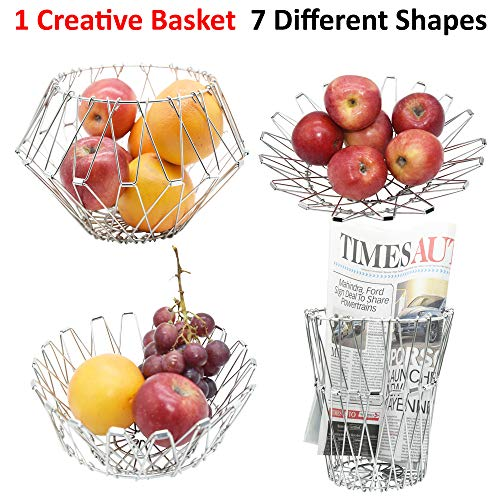 Creative UniQual 7in1 Steel Foldable Kitchen Basket and Multipurpose Storage Organiser for Dining Table, Fruits & Vegetables, Storage Bin, Pen Stand, Candle Stand, etc.