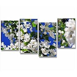 Magnolia 2–cuadro moderno 152x 78cm Impresión Lienzo Flores blancas Sakura Cerezo Benessere Zen cuadros arredo casa Hotel Centro Benessere