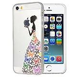 JIAXIUFEN Neue Modelle TPU Silikon Schutz Handy Hülle Case Tasche Etui Bumper für Apple iPhone 5 5S SE - Black Colorfu
