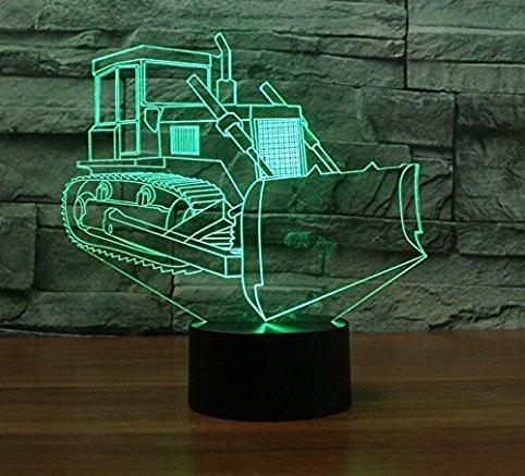 Preisvergleich Produktbild 3D Bulldozer Optische Illusions-Lampen,  Tolle 7 Farbwechsel Acryl berühren Tabelle Schreibtisch-Nachtlicht mit USB-Kabel für Kinder Schlafzimmer Geburtstagsgeschenke Geschenk