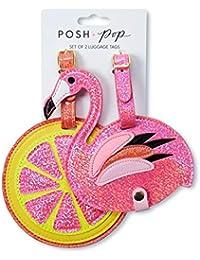Tri-Coastal Design - Set di 2 Etichette Bagaglio in Eco Pelle con Dettagli Glitter per Donna - Per Riconoscere...