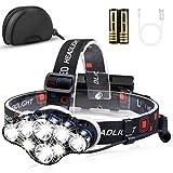 Mirviory Stirnlampe LED, Superheller Kopflampe 18000 Lumen 8 LED 8 Modi mit Rotem Warnlicht, USB Stirnlampe Wiederaufladbare Wasserdicht Einstelllbare für Outdoor Camping Angeln Wandern