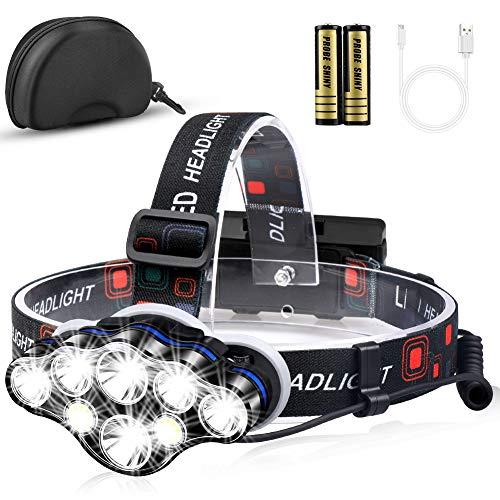 Mirviory Stirnlampe, Superheller Kopflampe 13000 Lumen 8 LED 8 Modi mit Rotem Warnlicht, USB Stirnlampe Wiederaufladbare Wasserdicht Einstelllbare für Outdoor Camping Angeln Wandern