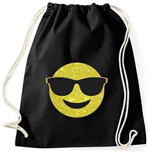BlingelingShirts Turnbeutel Smiley Gymsack Sportbeutel Gymbag Sportbag Smiley Emoji mit Sonnenbrille