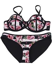 5cfae95ff94698 MUXILOVE Damen Blumen Streifen Rosen Neopren Bademode Beachwear Padded Bra Badeanzug  Bikini-Set