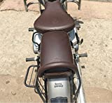#2: Sahara Gunmetal Coffee Brown Seat Cover and Tank Cover and Other Accessories for Royal Enfield Classic 350/500 (Gun Metal, Seat Cover and Handle Rod)