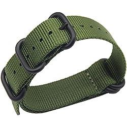 AUTULET 24mm armée Verte de Style NATO Robuste Bracelet Exotique de Bande de Montre-Bracelet Hommes Sport en Nylon Souple