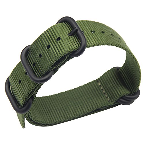 23mm Armee grün Luxus exquisiter Männer einteiliger NATO Stil Nylon Perlon Uhrenarmbänder Bänder Textil
