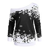 TEBAISE Weihnachts Frauen-Damen Anker Weg von der Schulter Maxi-Slouchy Sweatshirt Pullover Tops Blusen(B-Schwarz,EU-40/CN-XL)