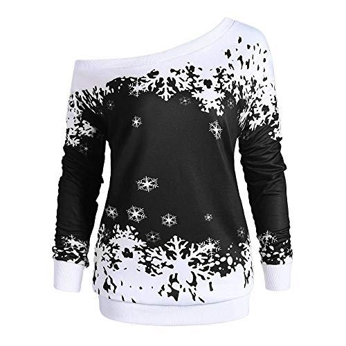 Ugly Christmas Sweater Damen Oversize UFODB Frau Shirt Off Shoulder Drucken Pullover Blouse Langarmshirt Oberteile Pulloversexy Weihnachtspullover Top