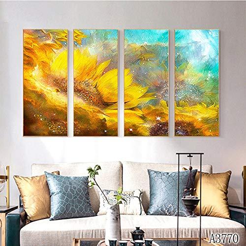 WINPSHENG-Druck Wandkunst Quartett Sneak Abstrakt Goldsonnenblume Sofa