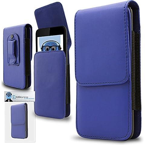 iTALKonline Samsung T509 PU Pelle BLU Verticale esecutivo laterale del raccoglitore della copertura della cassa del sacchetto con attacco cintura