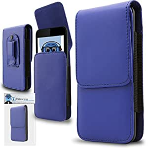Blue PREMIUM PU Leather Vertical Executive Side Pouch Case Cover Holster with Belt Loop Clip and Magnetic Closure for LG C900 Optimus 7Q