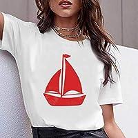 LuoMei Camiseta Estampada en Blanco Jersey de Manga Corta con Cuello Redondo para Mujer Camiseta de Algodón Puro con Cuello Redondo Camiseta con Fondo para Mujer Camiseta Femenina de Verano para Muje